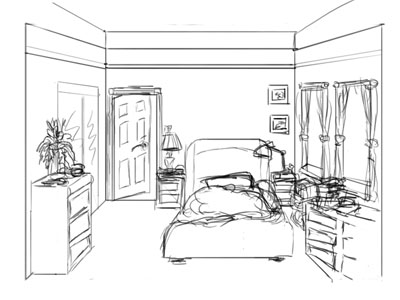 Clip Art Black And White Bedroom Clipart.