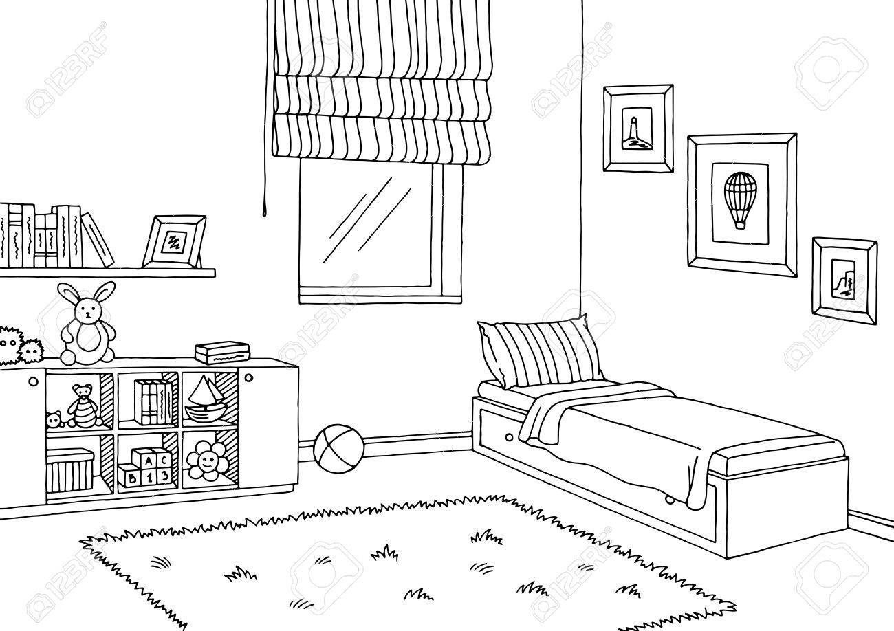 Kids bedroom clipart black and white 1 » Clipart Portal.