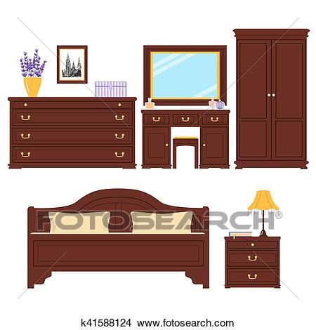 Bedroom furniture vector set Clipart.