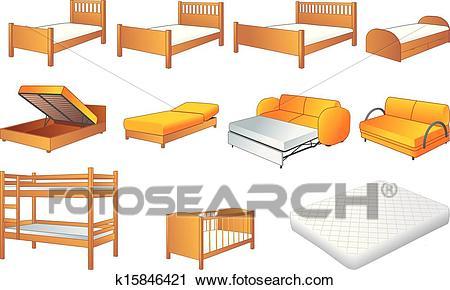 Bedroom furniture set, vector Clipart.