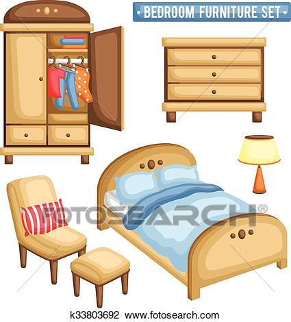 Bedroom Furniture Set Clipart.