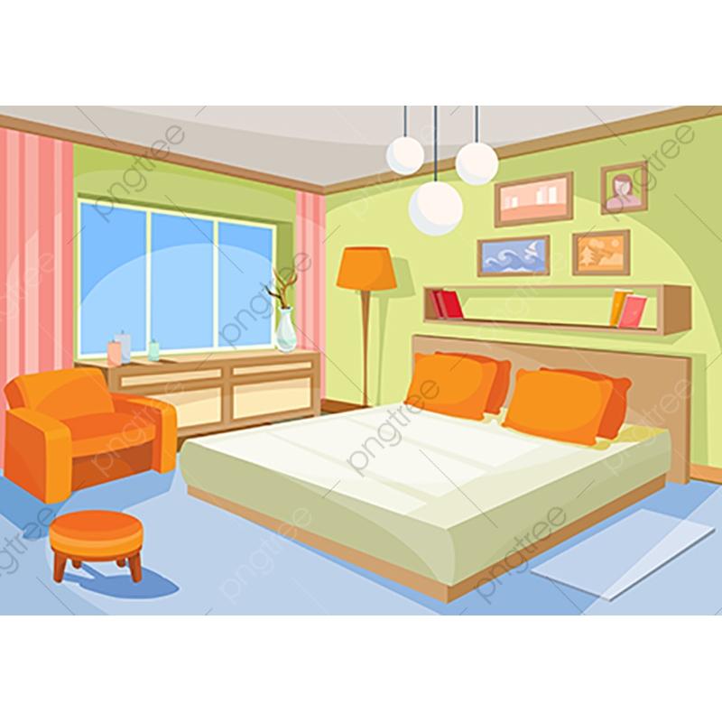 Vector Cartoon Illustration Interior Orange Blue Bedroom A Livi.