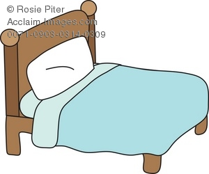 Clipart Illustration of a Simple Bed.