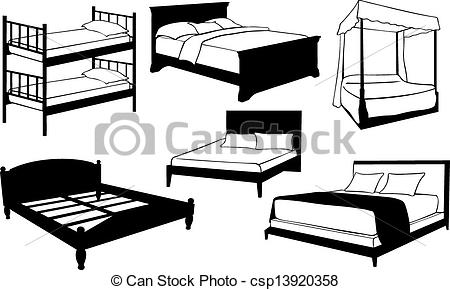 Clipart Vector of beds.