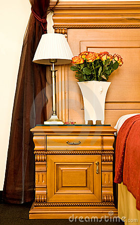 Bedside Table With Lamp Stock Image.