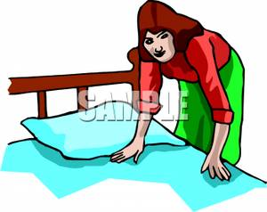 A_Woman_Making_the_Bed_Royalty_Free_Clipart_Picture_090821.