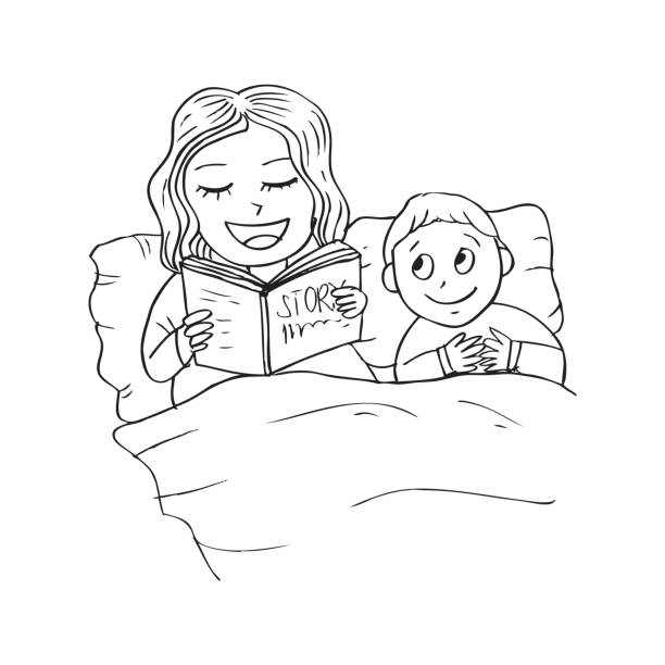 Bedtime Story Clipart Black And White.