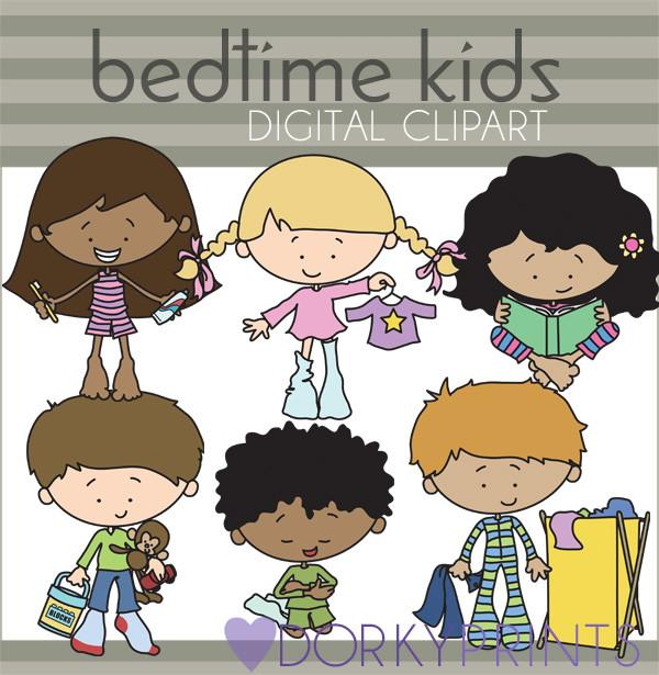 Bedtime Routine Kid Clipart.