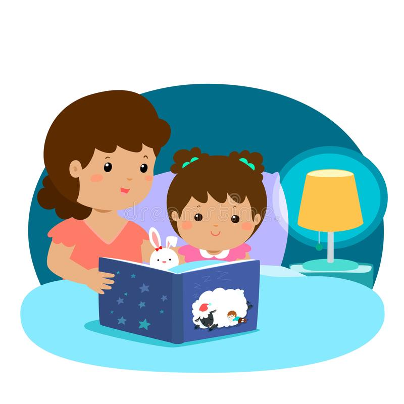 Mother Reading Bedtime Story Stock Illustrations.
