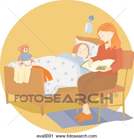 Mom reading a bedtime story Clip Art.