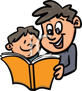 Boy and His Dad Reading a Bedtime Story.