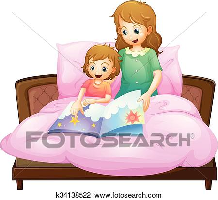Mother telling bedtime story to kid in bed Clipart.