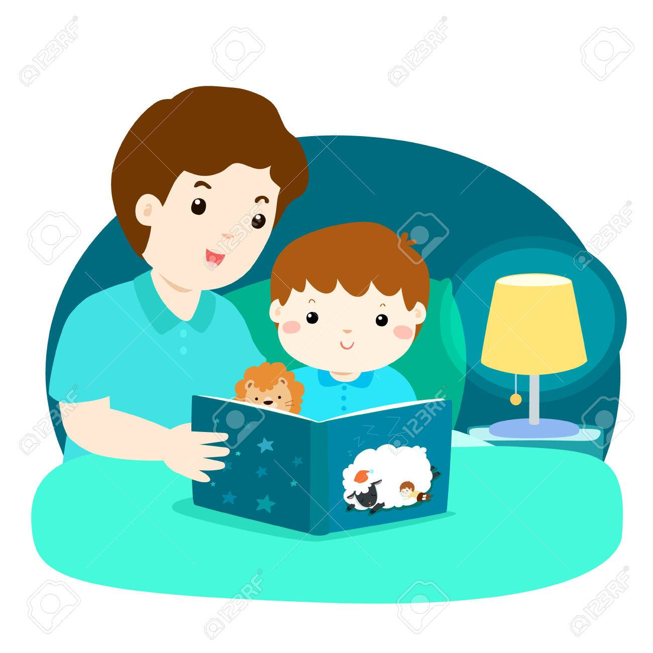 A vector illustration of a father reading a bedtime story to...