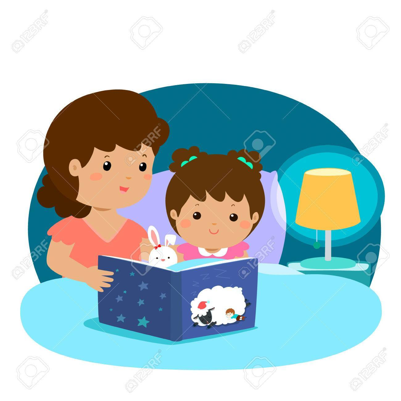 A vector illustration of a mother reading a bedtime story to her.