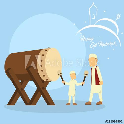 father teach his son play bedug.