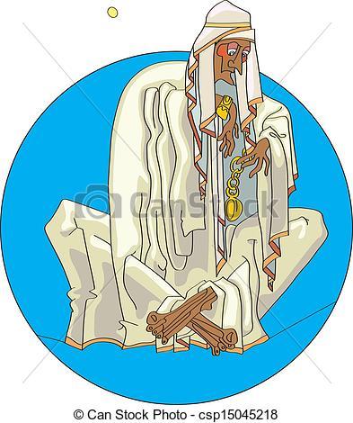 Vector Clip Art of Bedouin with clock.