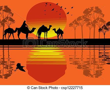 Vector Clip Art of Bedouin camel caravan in wild africa landscape.
