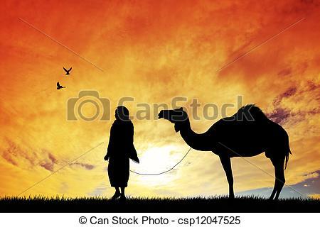 Clip Art of Bedouin with camel csp12047525.