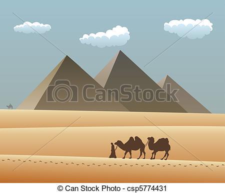 Vector Clip Art of camels and bedouin in desert.