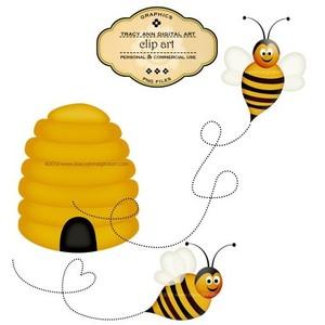 Honey Bees, Beehive Clip Art.
