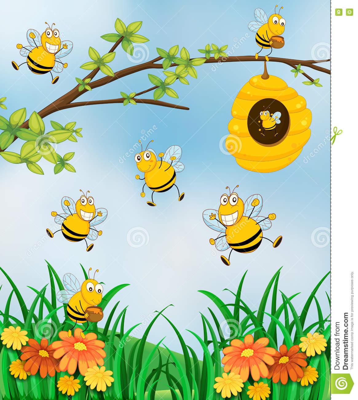 Scene With Bees And Beehive In Garden Stock Vector.