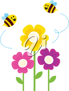 Royalty Free Clipart Image of Bees and Flowers.