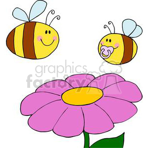 two bees and a flower clipart. Royalty.
