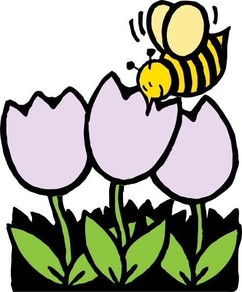 Bee And Flowers clip art Free vector in Open office drawing.