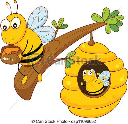 Clipart Vector of honey bee and comb.