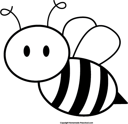 Honey Bee Black And White Clipart.