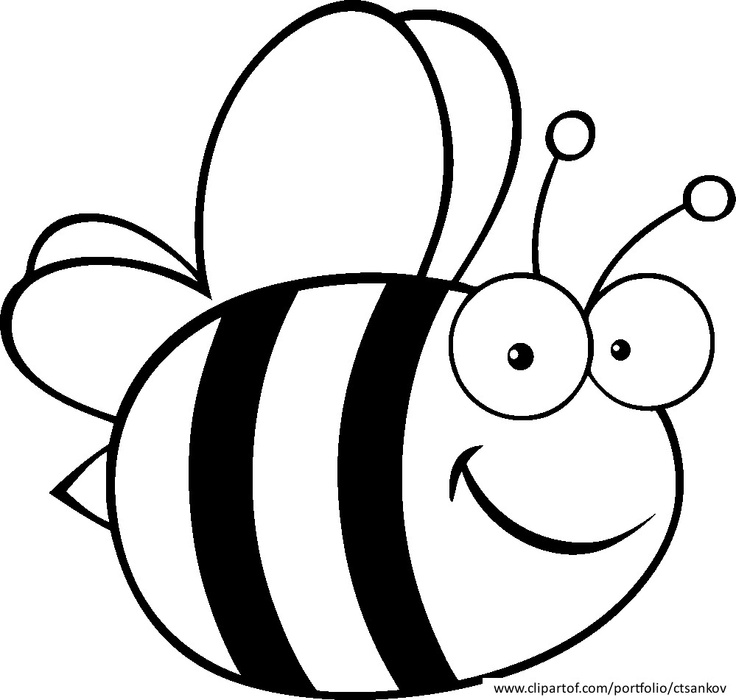 Bee black and white bee coloring clipart.