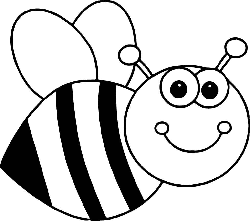 Honey Bee Clipart Book Kids Black and White.