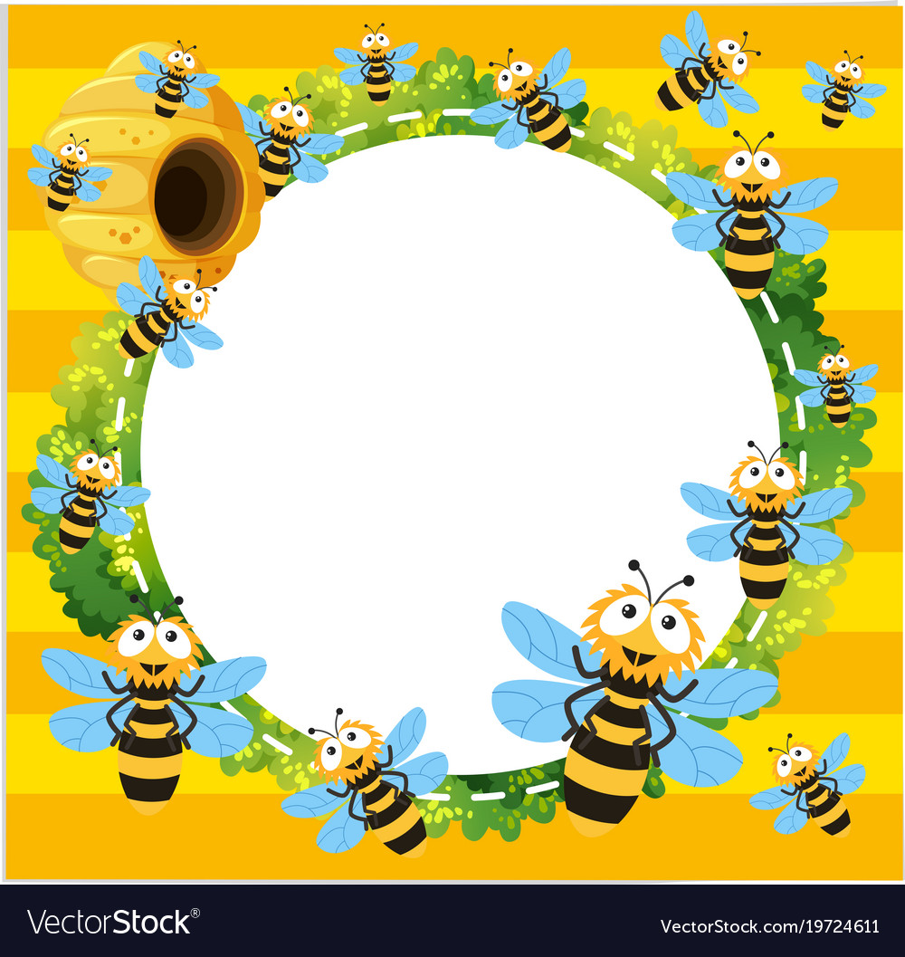 Border template with many bees flying.