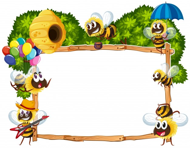 Border template with bees flying Vector.