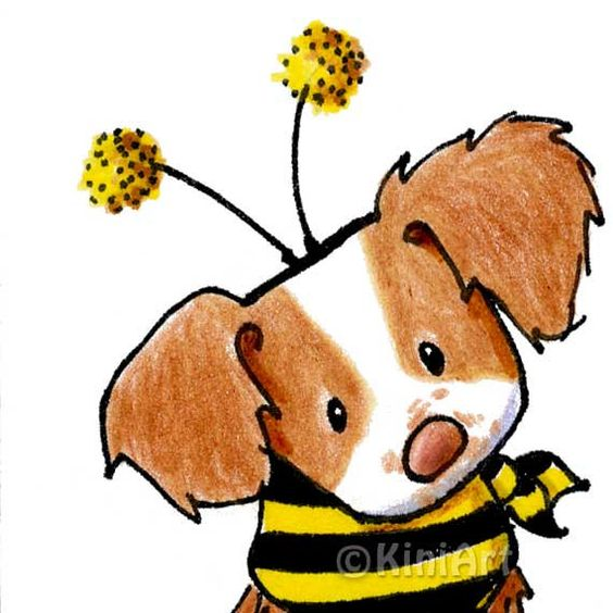 Brittany Breton Spaniel Dog Bee Original Art ACEO.