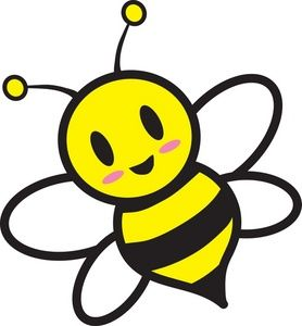 Honey Bee Clipart Image: Cartoon honey bee flying around.