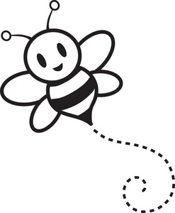 170 Bee Black And White free clipart.