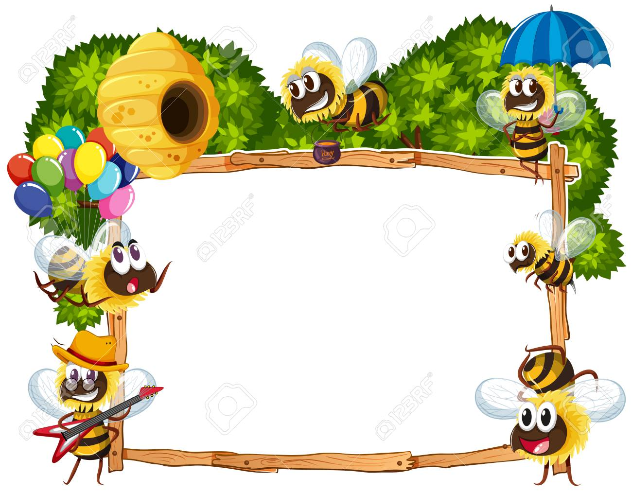 Border template with bees flying illustration.