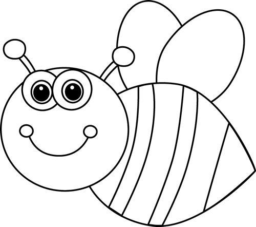 Valentine bee clipart black and white.