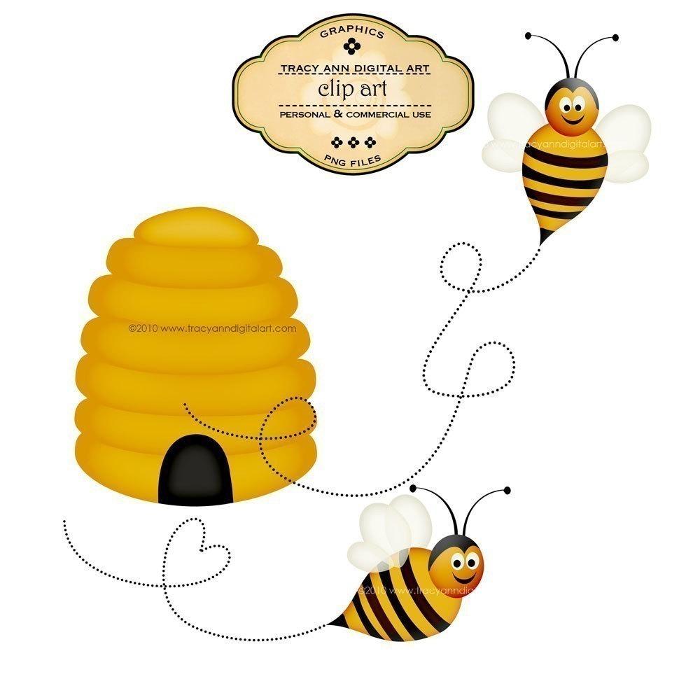 Honey bee drawing clip art.