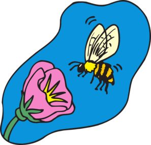 Bee on flower clipart.