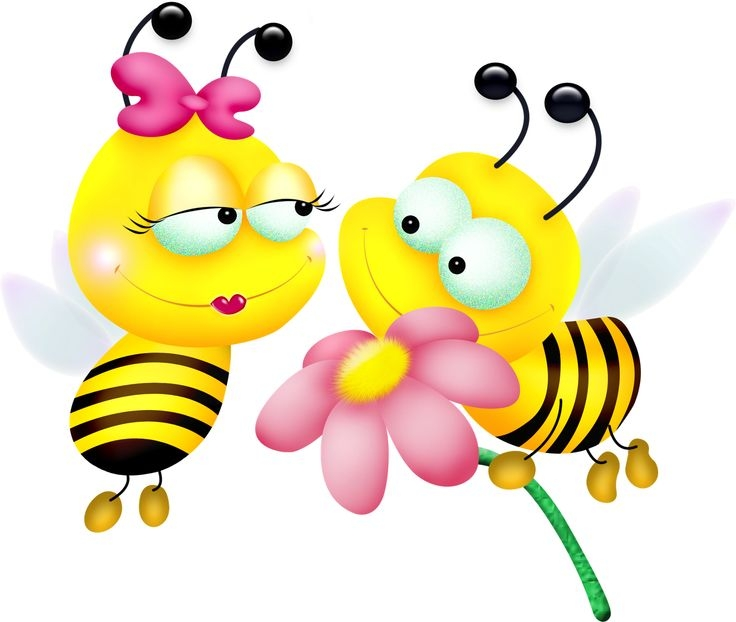 Bee on american flower clipart.