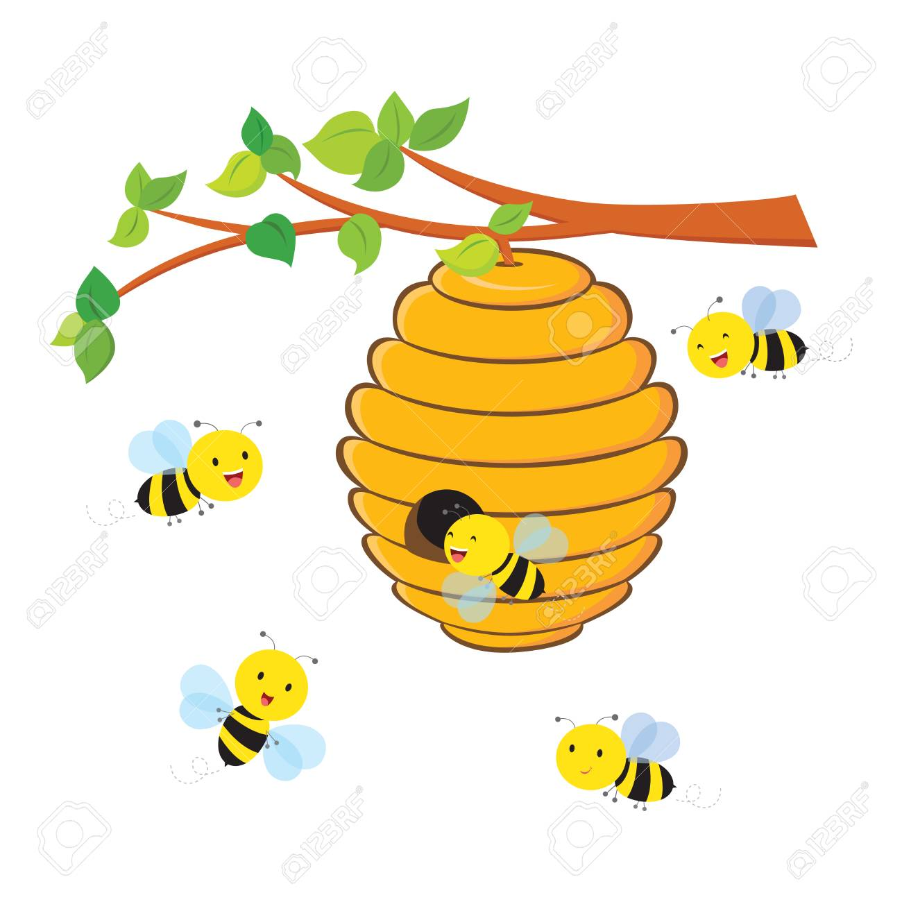 Busy bees flying around a beehive..