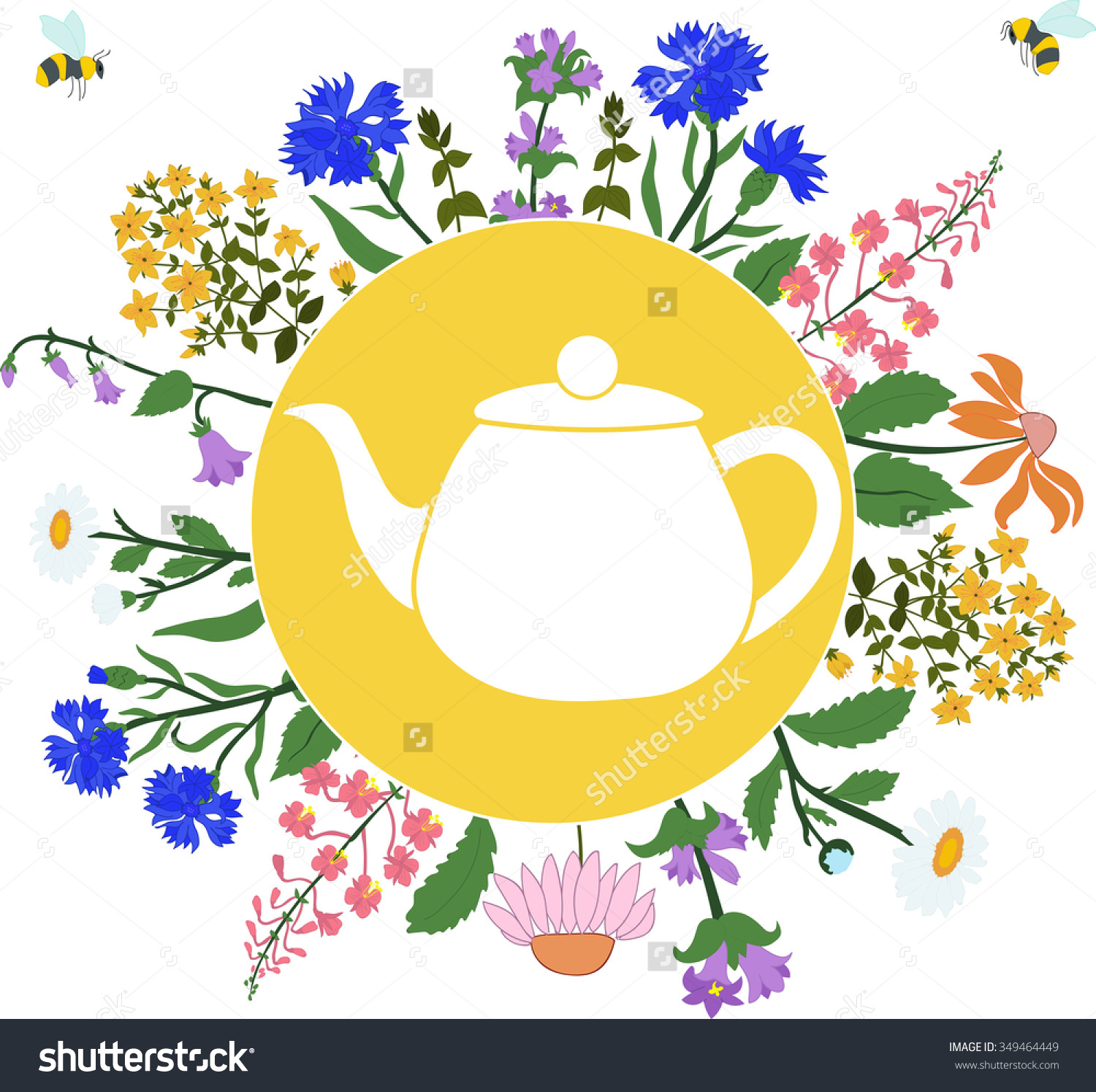 Teapot Herbs Around Teapot Circle On Stock Vector 349464449.