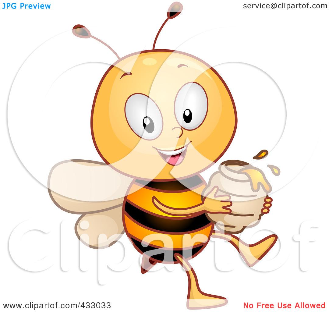 Free printable honey bee jar clipart.