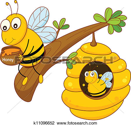 Clipart of A bee holding a pot of honey near the beehive k18360895.