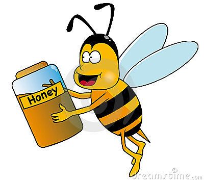Bee with honey clipart.