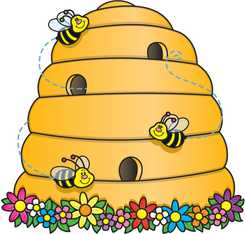 Bee hive bees clipart.