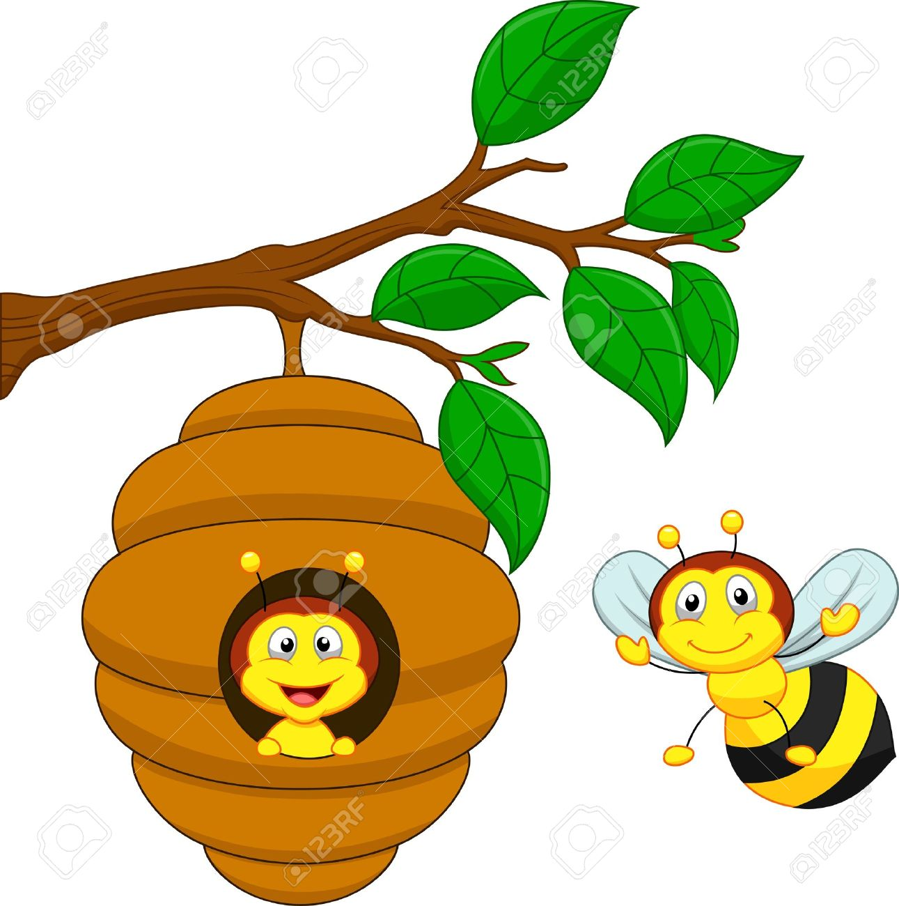 Honey bee hive clipart.