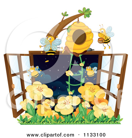 Cartoon Of A Window With A Bee House And Flowers.